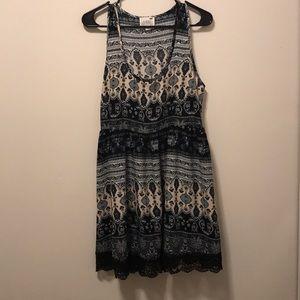 Black grey and brown paisley dress